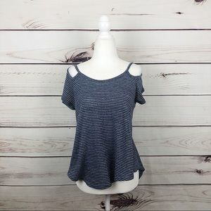 Blue Short Sleeve Knitted Boho Top Small